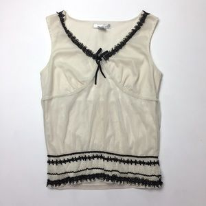 WD.NY Cream Black Lace Lingerie Style Tank Top